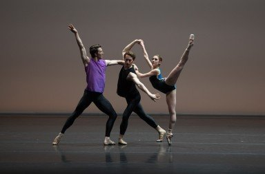 "(l-r) Roddy Doble, Patrick Yocum,  and Hannah Bettes  in William Forsythe's ""Pas/Parts 2018""  Photo by Rosalie O'Connor,"