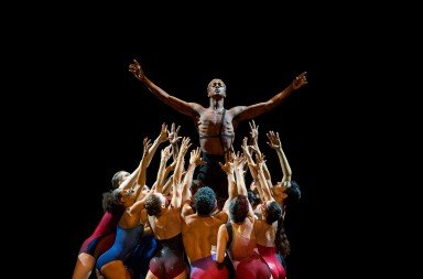 """Brandon Gray and Complexions dancers  in Dwight Rhoden's """"Star Dust""""  Photo by Sharen Bradford"""