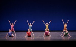 "New York City Ballet dancers in Jerome Robbins's ""Interplay"" Photo by Paul Kolnik"