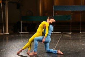 "New York Theatre Ballet dancers Giulia Faria and Joshua Andino-Nieto in Merce Cunningham's ""Scramble"" Photo by Julie Lemberger"
