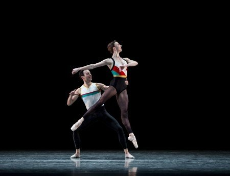 "Pacific Northwest Ballet dancers Jerome Tisserand and Elle Macy in Justin Peck's ""In the Countenance of Kings"" Photo by Angela Sterling"