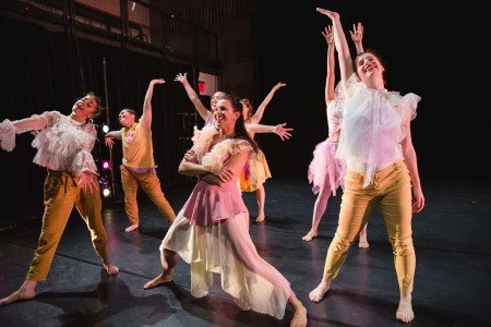"""Members of Ariel Rivka Dance in Ariel Grossman's """"Rhapsody in K"""" Photo by David Gonsier"""