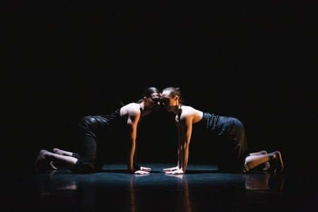 "slowdanger dancers (l-r) taylor knight and anna Thompson in ""memory 6"" Photo by David Gonsier"