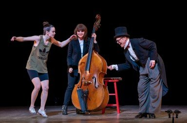 "(l-r) Michelle Dorrance, Kate Davis,  and Bill Irwin in ""Lessons in Tradition""  Photo by Stephanie Berger"