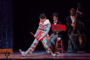 "(l-r) Warren Craft and Bill Irwin, with Gregory Richardson on Bass, in Bill Irwin's ""Harlequin and Pantalone"" Photo by Stephanie Berger"