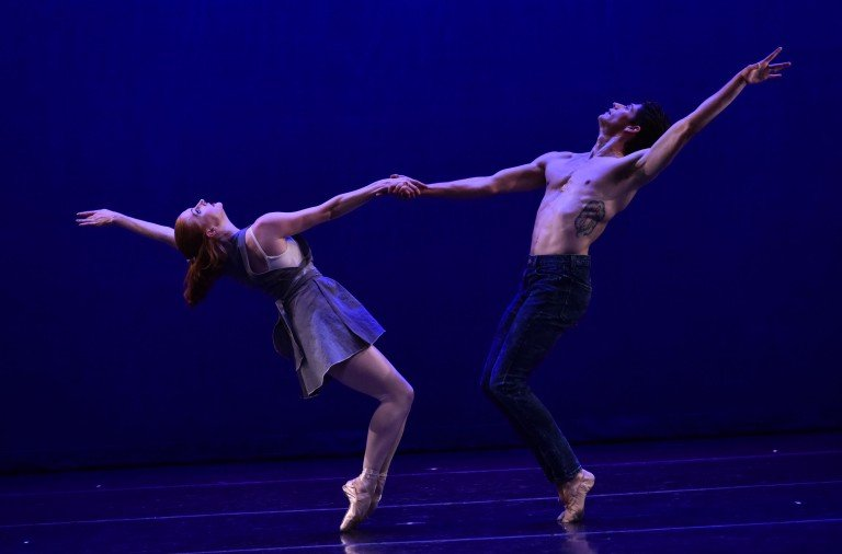 """Abigail Mentzer and Barton Cowperthwaite  in Tom Gold's """"Counterpoint""""  Photo by Eugene Gologursky"""